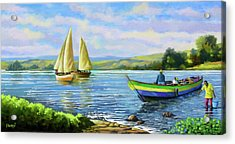 Acrylic Print featuring the painting Boats At Lake Victoria by Anthony Mwangi