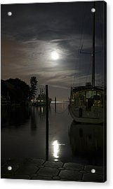 Boats At Moon Rise Acrylic Print