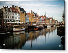 Boats At Nyhavn In Copenhagen Acrylic Print