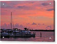 Boats At Sunset Acrylic Print by Rose  Hill
