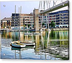 Acrylic Print featuring the photograph Boats Becalmed Rvd by Jack Torcello