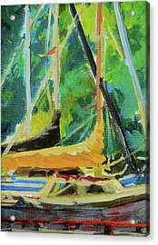 Boats Docked In The Morning Acrylic Print by Margaret  Plumb