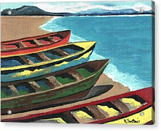 Acrylic Print featuring the painting Boats In A Row by Kathleen Sartoris