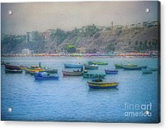 Acrylic Print featuring the photograph Boats In Blue Twilight - Lima, Peru by Mary Machare