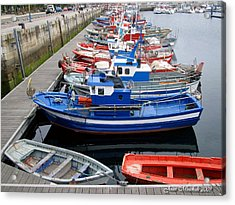 Acrylic Print featuring the photograph Boats In Norway by Joan  Minchak