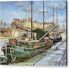 Boats In Paris, Pont Neuf Acrylic Print