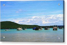 Boats In Sleeping Bear Bay Wood Texture Acrylic Print by Dan Sproul