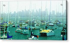 Boats In The Bay Acrylic Print by Russ Harris