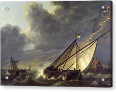 Boats In The Estuary Of Holland Diep In A Storm Acrylic Print by Aelbert Cuyp