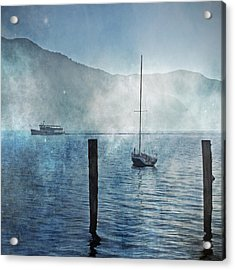 Boats In The Fog Acrylic Print