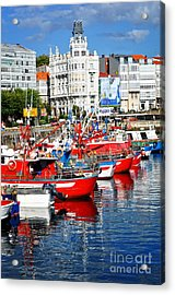 Boats In The Harbor - La Coruna Acrylic Print
