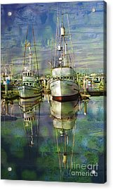 Boats In The Harbor Acrylic Print by Ronald Hoggard