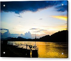 Boats In The Mekong River, Luang Prabang At Sunset Acrylic Print
