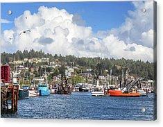 Boats In Yaquina Bay Acrylic Print