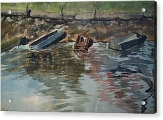 Boats Acrylic Print by Karen Thompson