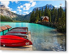 Boats On A Dock  Emerald Lake Canada Acrylic Print by George Oze