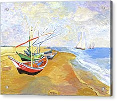 Acrylic Print featuring the painting Boats On The Beach At Saintes-maries After Van Gogh by Rodney Campbell