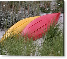 Boats On The Beach In Ma Acrylic Print by Mary Pearson
