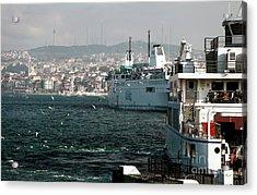 Boats On The Bosphorus Acrylic Print by John Rizzuto
