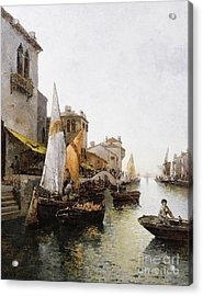 Boats On The Canal Acrylic Print