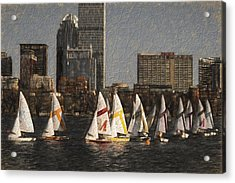 Boats On The Charles River Boston Ma Acrylic Print by Toby McGuire