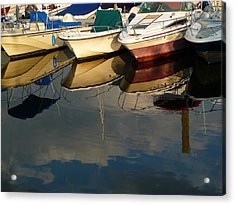 Boats Reflected Acrylic Print by Margie Avellino