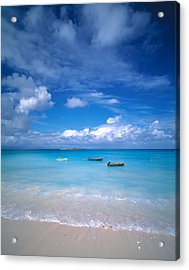 Boats Tropical Caribbean Sea Antilles Acrylic Print by Panoramic Images