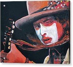 Bob Dylan Acrylic Print by Tom Carlton