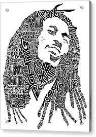 Bob Marley Black And White Word Portrait Acrylic Print by Inkpaint Wordplay