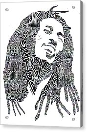 Bob Marley Black And White Word Portrait Acrylic Print by Kato Smock