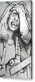 Acrylic Print featuring the drawing Bob Marley In Ink by Joshua Morton