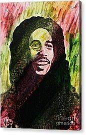 Bob Marley Acrylic Print by Judy Via-Wolff