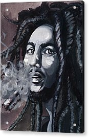 Bob Marley Portrait Acrylic Print by Alban Dizdari