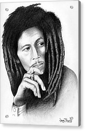 Acrylic Print featuring the drawing Bob Marley by Wayne Pascall