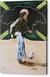 Bob Marley With Brazuca Acrylic Print