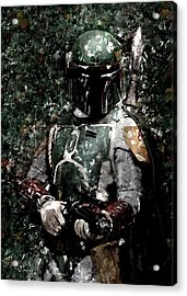 Boba Fett Portrait Art Painting Signed Prints Available At Laartwork.com Coupon Code Kodak Acrylic Print by Leon Jimenez