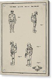 Boba Fett Toy Patent 1982 In Sepia Acrylic Print
