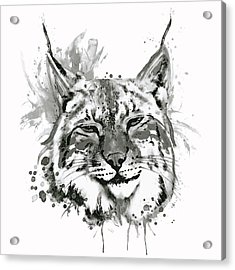 Bobcat Head Black And White Acrylic Print