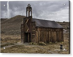 Acrylic Print featuring the photograph Bodie Fire Station With Lightning by Sandra Bronstein