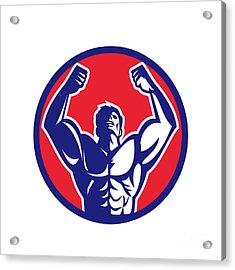 Body Builder Flexing Muscles Circle Retro Acrylic Print by Aloysius Patrimonio