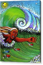 Body Surfing With My Buddies Acrylic Print