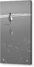 Bodyboarding In Black And White 2 Acrylic Print by Mandy Shupp