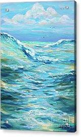 Bodysurfing Afternoon Acrylic Print by Linda Olsen
