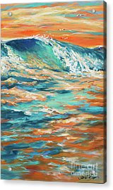 Bodysurfing At Sunset Acrylic Print by Linda Olsen
