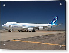 Boeing 747-8 N50217 At Phoenix-mesa Gateway Airport Acrylic Print by Brian Lockett