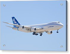 Boeing 747-8 N50217 Landing Acrylic Print by Brian Lockett