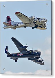 Boeing B-17g Flying Fortress And Avro Lancaster Acrylic Print by Alan Toepfer