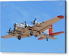Boeing B-17g Flying Fortress N5017n Aluminum Overcast Landing Deer Valley Airport March 31 2011 Acrylic Print