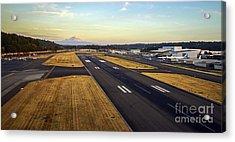 Boeing Field And Mount Rainier Acrylic Print by Mike Reid