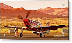 Boeing North American P-51d Sparky At Sunset In The Valley Of Speed Reno Air Races 2010 Acrylic Print